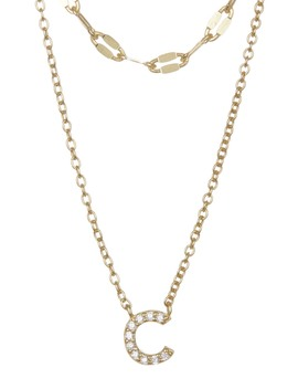 Double Layer Cz Initial Pendant Necklace by Nordstrom Rack