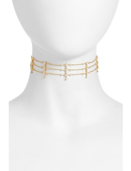 Dame Cz Multi Row Choker Necklace by Nadri
