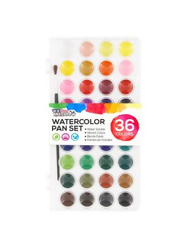 U.S. Art Supply 36 Color Watercolor Artist Paint Set With Plastic Palette Lid Case And Paintbrush   Watersoluable Cakes by Us Art Supply