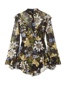 Wanda Asymmetric Ruffled Floral Print Silk Chiffon Blouse by Erdem