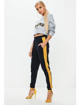 Navy Side Stripe Cuffed Joggers by Missguided