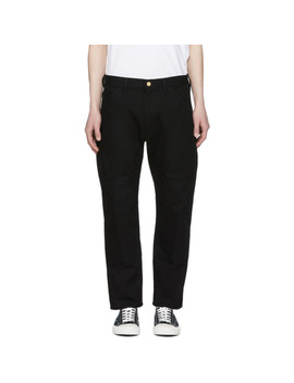 Black Carhartt Edition Canvas & Faux Leather Trousers by Junya Watanabe