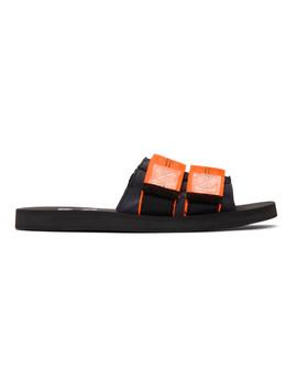 Black & Orange Industrial Slides by Off White