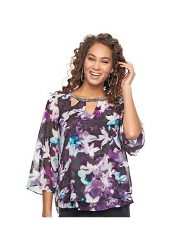 Women's Jennifer Lopez Print Cutout Chiffon Top by Kohl's