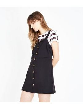 Black Button Front Jersey Pinafore Dress by New Look