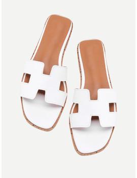 Pu Cutout Design Sliders by Sheinside