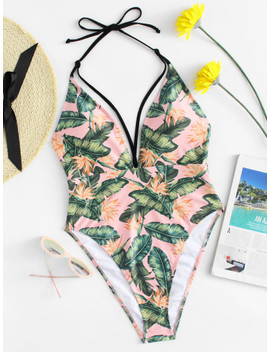 Palm Print Tie Neck Swimsuit by Sheinside