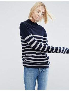Asos White 100 Percents Cashmere Funnel Neck Jumper In Stripe by Asos White