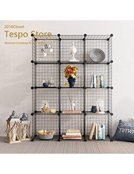 Tespo Metal Wire Storage Cubes, Modular Shelving Grids, Diy Closet Organization System, Bookcase, Cabinet, Set Of 12, Black by Tespo