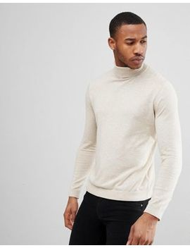 Asos Roll Neck Cotton Jumper In Oatmeal by Asos