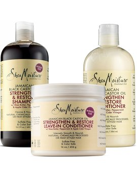 Shea Moisture Jamaican Black Castor Oil Combination Pack – Strengthen, Grow & Restore System – 16.3 Oz Shampoo, 13 Oz. Conditioner & 16 Oz. Leave In Conditioner by Shea Moisture