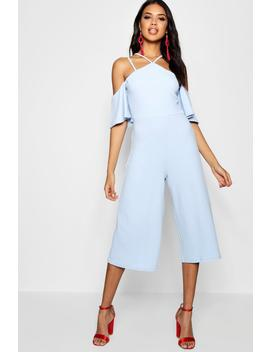 Rosie Open Shoulder Culotte Jumpsuit by Boohoo