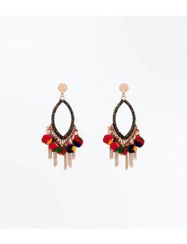 Gold Tassel Drop Pom Pom Earrings by New Look