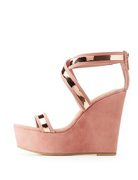 Bamboo Metallic Two Piece Wedge Sandals by Charlotte Russe