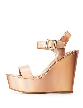 Bamboo Metallic Wedge Sandals by Charlotte Russe