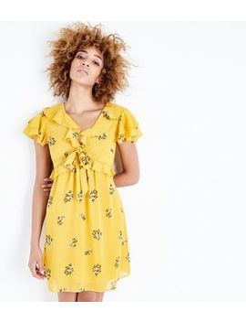 Yellow Floral Chiffon Frill Trim Tea Dress by New Look