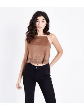 Brown Laser Cut Suedette Square Neck Cami by New Look
