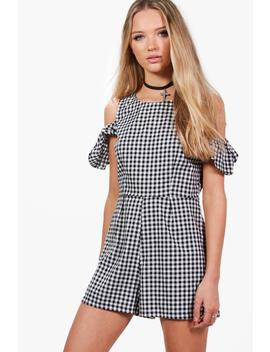 Arianna Gingham Cold Shoulder Playsuit by Boohoo
