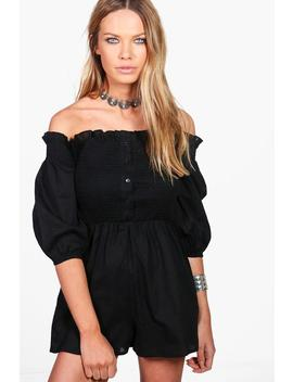 Mya Off The Shoulder Button Front Cotton Playsuit by Boohoo