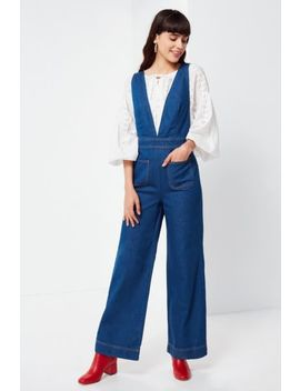 Uo Eleanor Plunging Denim Jumpsuit by Urban Outfitters