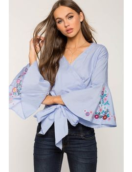Embroidered Wrap Blouse by A'gaci