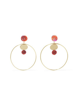 Circle Dot Gold Tone Resin Hoop Earrings by Dinosaur Designs