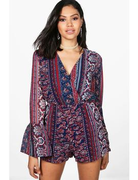 Josie Flare Sleeve Chiffon Playsuit by Boohoo