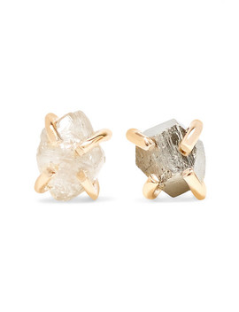 14 Karat Gold, Pyrite And Diamond Earrings by Melissa Joy Manning