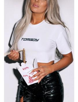 Fanny Lyckman X Missguided White Tomboy Logo Crop Top by Missguided