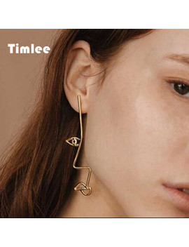 Timlee  E114 Unique Personality Hollow Face  Metal  Drop  Earring Twisted Abstract Earrings by Tim Lee Official Store