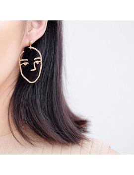 Abstract Art Drop Earrings Gold Color Face Statement Dangle Earrings Girls Fashion Trend Tassel Earrings For Women Bijoux 2017 by Women Jewelry Accessories Store