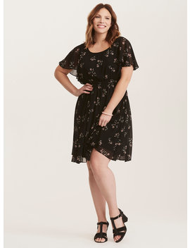 Black Floral Chiffon Skater Dress by Torrid