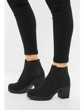 Black Nubuck Chelsea Ankle Boots by Missguided