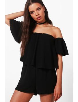 Aylin Off Shoulder Ruffle Sleeve Playsuit by Boohoo