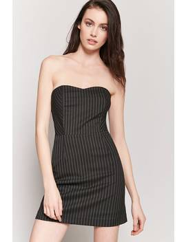 Pinstripe Strapless Mini Dress by F21 Contemporary