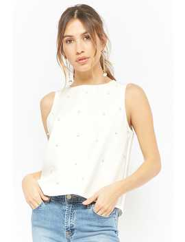 Faux Pearl Embellished Top by Forever 21