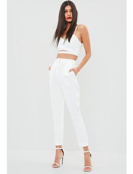 White Pleated Front Cigarette Trousers by Missguided