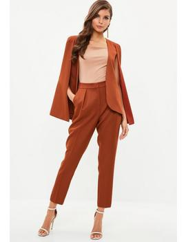 Rust Pleat Front Cigarette Trousers by Missguided