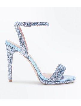 Green Glitter Metallic Trim Stiletto Sandals by New Look