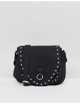 Pieces Ring Detail Crossbody Bag With Stud Detail by Pieces
