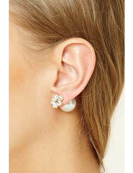 Floral Rhinestone Dual Studs by Forever 21