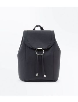 Black Ring Front Backpack by New Look