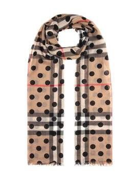 Wool And Silk Check Scarf by Burberry