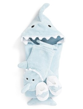 'let The Fin Begin' Hooded Terry Robe, Bath Mitt & Slippers Set by Baby Aspen