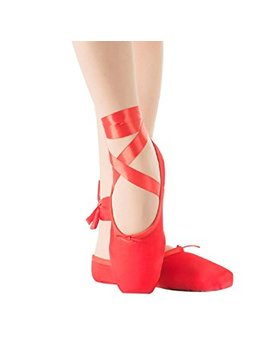 Girls Pointe Shoes For Ballet Leather Sole With Free Gel Silicone Toe Pads And Ribbons by Skyrocket