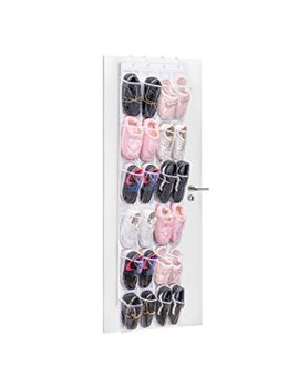24 Pockets Over The Door Shoe Storage, Maid Max Hanging Organizer Shoe Racks Foldable Wardrobes Storage Bag With Hooks, Clear & White by Maid Max