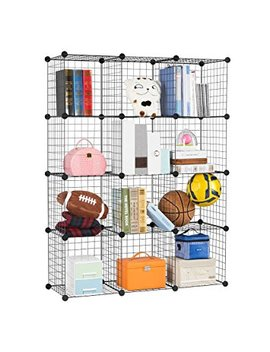 Langria 12 Cube Diy Wire Grid Bookcase, Multi Use Modular Storage Shelving Rack, Open Organiser Closet Cabinet For Books, Toys, Clothes, Tools, Max Capacity 20kg Per Cube, Black by Langria
