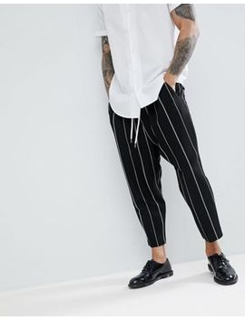 Asos Drop Crotch Tapered Smart Trousers In Black Waffle With White Stripes by Asos