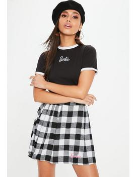 Barbie X Missguided Petite Black & White Checked Mini Skirt by Missguided