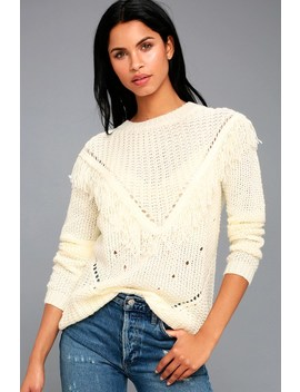 Bess Cream Fringe Knit Sweater by Lulu's